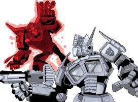 Optimus Vs Rodimus by ninjha