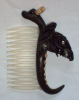night dragon hair comb by ACrowsCollection