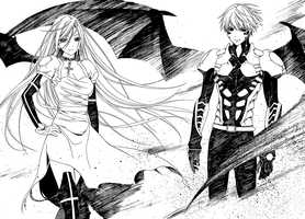 Tsukune and Moka Shinso Vampire Battle Forms by weissdrum