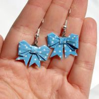 blue polka dots origami bow earrings by yael360