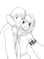 Haruhi and Kyon by doomDefiant