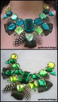 Green Rhinestones and Feathers by Natalie526