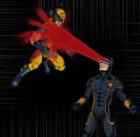 Wolverine vs Cyclops - Schism by Stark-liverbird