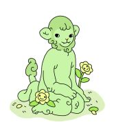 green lion with yellow flowers by erin-harrison