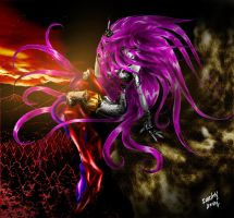 Janthreya at flame, and red woods by CorvenIcenail