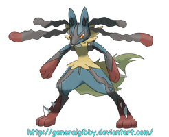Sugimori Style MegaLucario = Original Colors by GeneralGibby