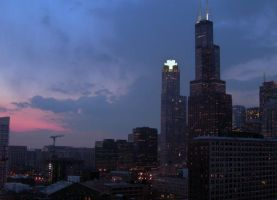 Sears Tower at Dusk + Lights by sarahb86