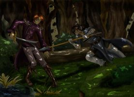 Forest fight coloured by PatrickleMorse