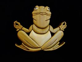 Meditating Frog by IntarsiaArtist