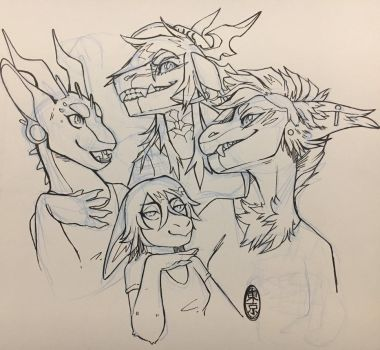 The drago ladies and an adama bean by Tokyozilla