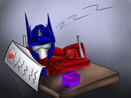 free comission: sleepy optimus by Annpar2009