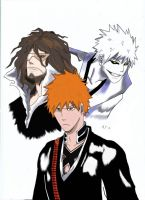 Ichigo,Ogichi and Zangetsu by Wolfofshiver