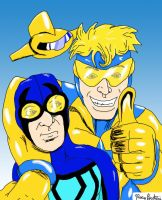 Booster Gold and Blue Beetle by RoccoBertucci