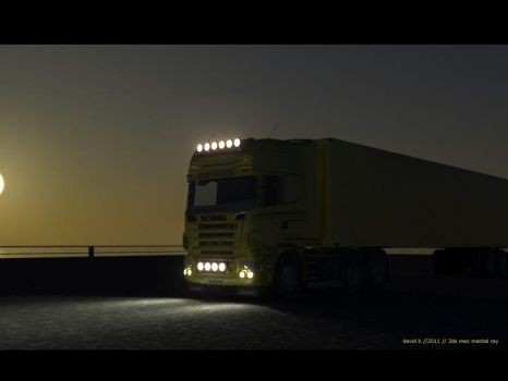 scania truck _sunset by marauderx666