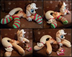 Lifesize Applejack laying plush with socks by RosaMariposaCrafts