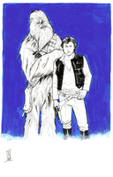 Han and Chewie inked by Hodges-Art