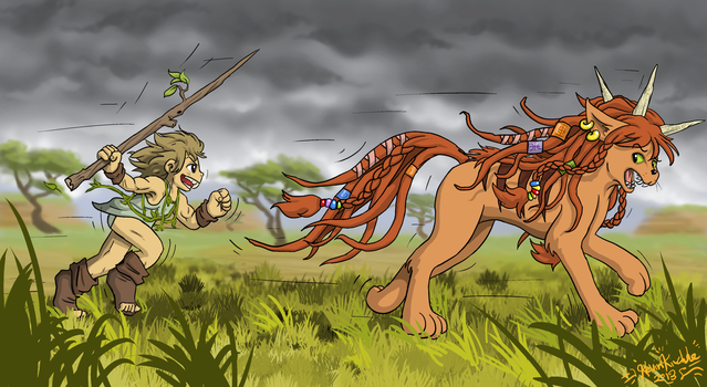 Hunting the Wild Woliba by LavaLizard