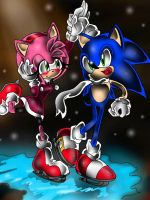 xXSonic And Amy Skating *Gift*Xx by CrystallineJewel0