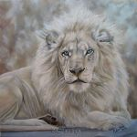 Beauty In The Beast - White Lion Painting by AnneZoutsos