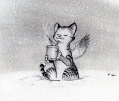 Caffeine Cat Snowday by RobtheDoodler
