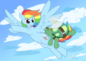 Rainbow Dash and Tank by DawnAllies