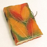 Colorful Leaves leather journal. by gildbookbinders