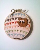 Live, Laugh, Learn Baby Owl Embroidery Hoop by msmegas