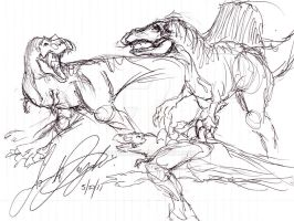 When Spino met a Ful Adult Rex by JBugallo