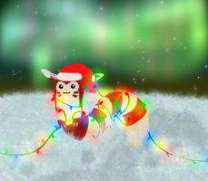 Candy Cane Furret by Queen-Blanca