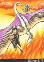 Day 03: Bohemian golden-winged dragon by ElorenLeianor