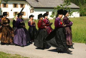 Ladies in beautiful traditional dresses by steppeland