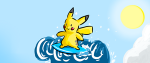 surfer pikachu by cartoonboyplz