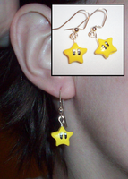 Super Mario-Inspired Star Earrings by UniqueTreats