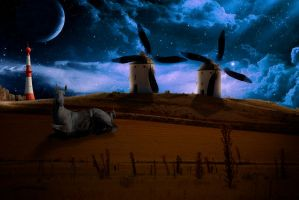 Nightly Plumage of Two Windmills by jesus-at-art