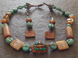 Woven Bronze and Turquoise Set by OohShinyJewelry