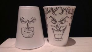 Batman and the Joker Cups by FordZany