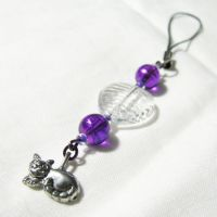 Purple kitty cell phone charm by merigreenleaf