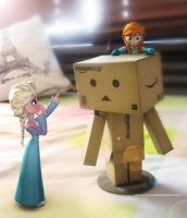 Elsa and Anna with Danbo by vanadise
