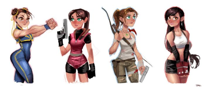 Video Game Girls by DaveJorel