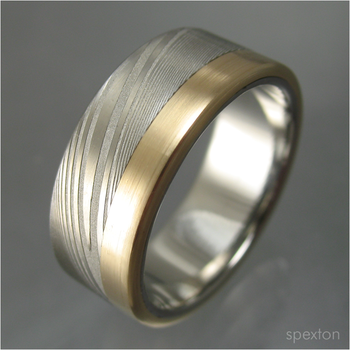 Damascus and Gold Wedding Ring by Spexton