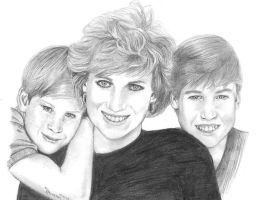 Princess Diana, Will and Harry by Qraizi-mepha