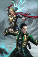 Loki and Thor by GenghisKwan