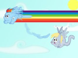 Derping in the Sky with Rainbows by scienceisanart