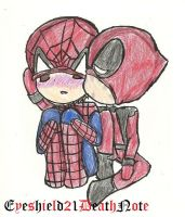 spideypool chibi kiss by ThePastelHobbit