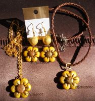 Necklace and earrings with Sunflower by Elfetta2007