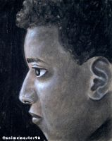 charcoal and chalk on toned paper - portrait by anime-master-96