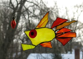 The Red Eyed Anglerfish by trilobiteglassworks