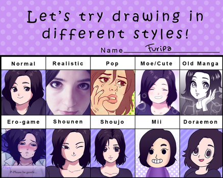 Different Styles Pixiv meme by Furipa93