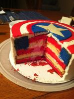 Captain America Cake by kattikki