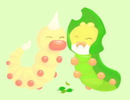Weedle and Sewaddle by Minnake